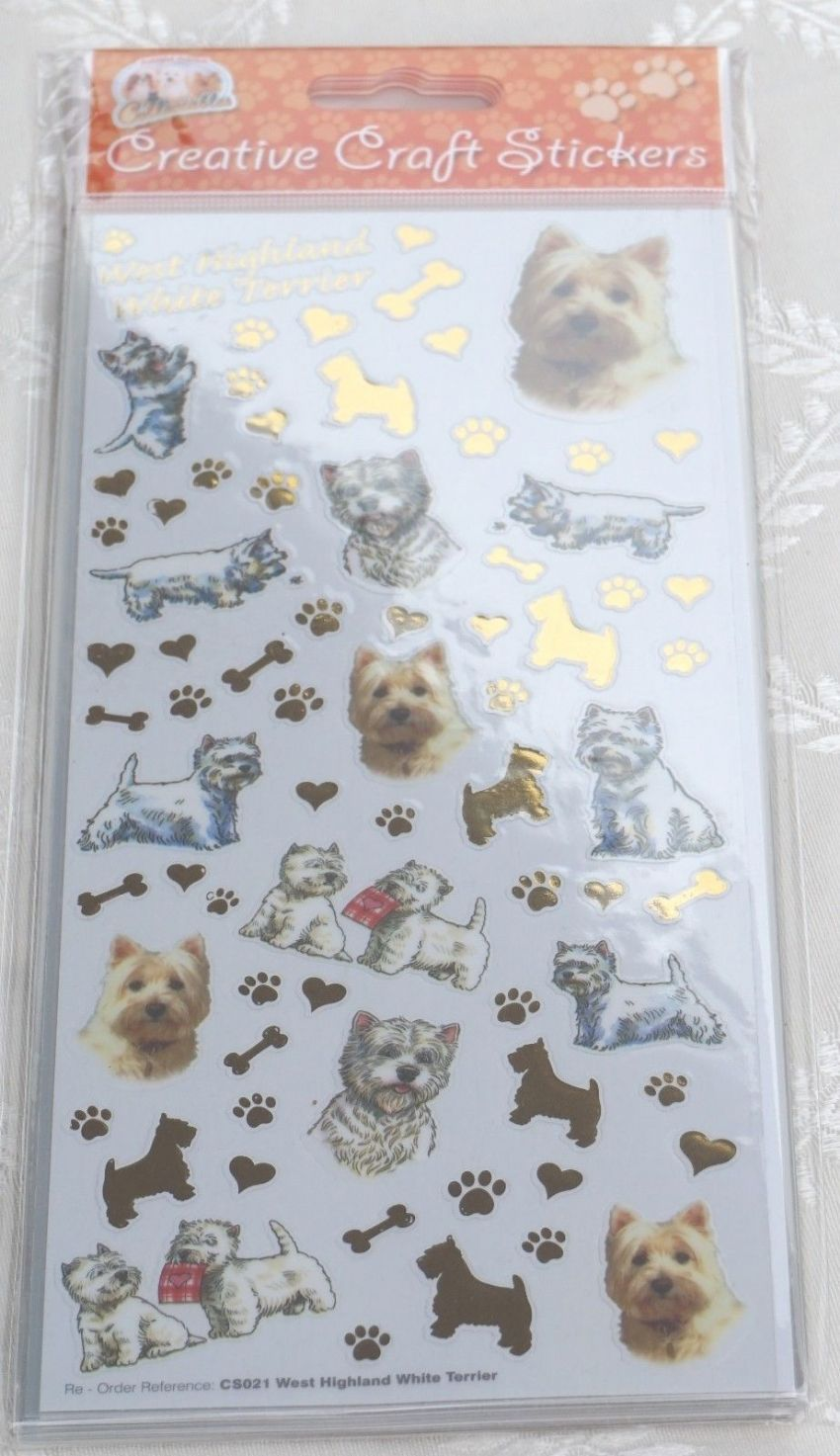 WEST HIGHLAND TERRIER WESTIE CRAFT STICKERS SCRAPBOOKING CARD CRAFT ETC
